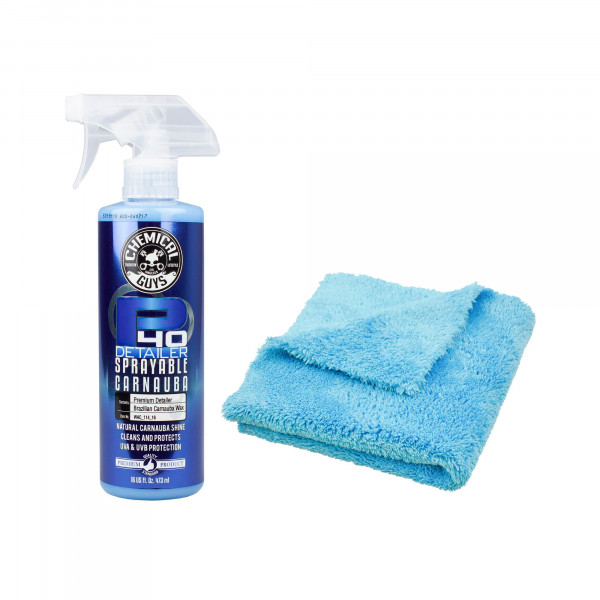 Chemical Guys P40 Quick Detailer Spray mit Carnauba Wachs 473ml inklusive DP Mikrofasertuch