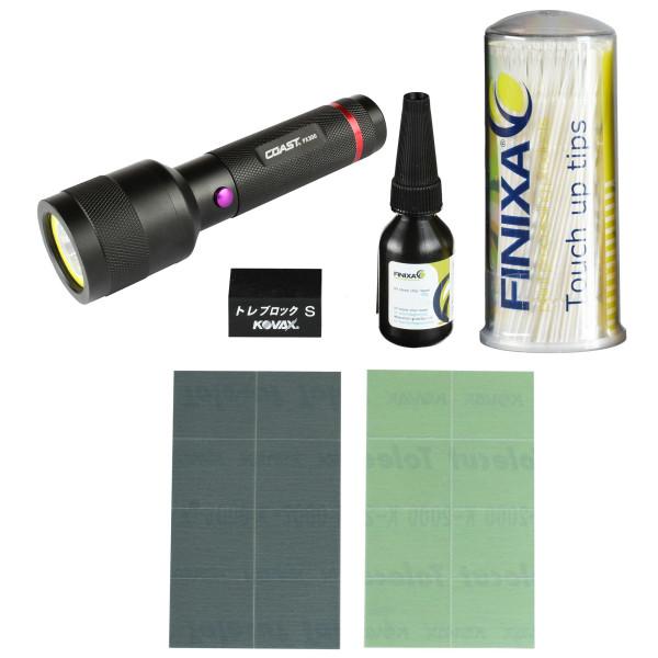 Professionelles Kratzer-Reparatur Set mit Klarlack, UV-Lampe, Schleifmedien